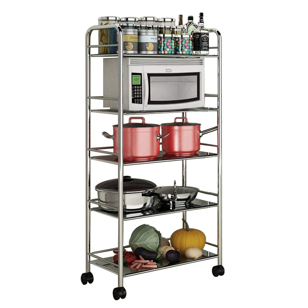 soges Stainless Steel 5-Shelf Utility Service Storage Cart for Home Kitchen Hotel Restaurant Catering XJJH-HMS-805-6