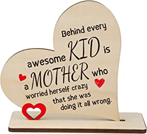 Mom Wooden Heart Plaque Gift, Behind Every Awesome Kid, is a Mother Who Worried Herself Crazy, Engraved Heart Sign, Home Decoration Ornament, Mother's Day, Birthday, Thanksgiving Keepsake Gift for Mom
