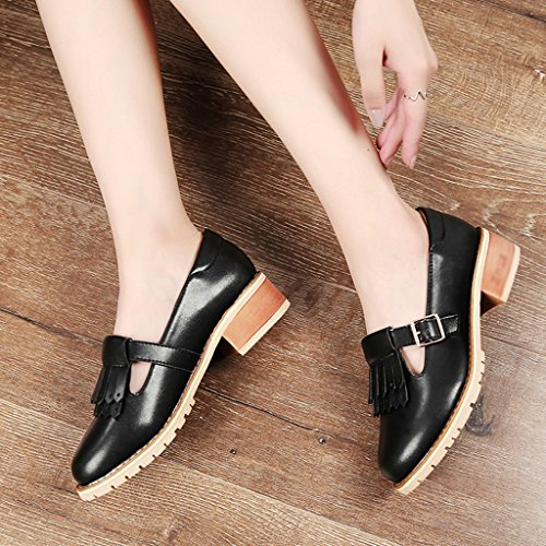 Femmes taille Chaussures Mouth Shallow Britannique Noir Cuir Style 39 Femme Gland Casual femme Heel Mid Chaussures Simple Printemps Noir Couleur HWF Chaussures Chaussures zvnaRPqq