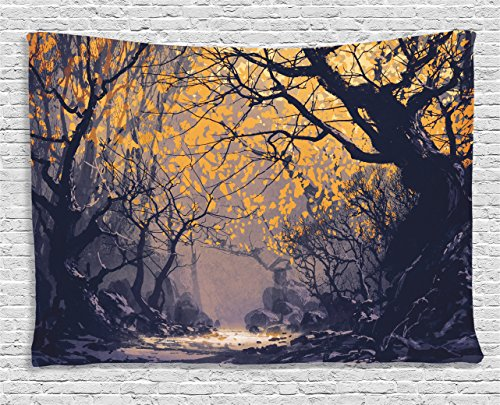 Fantasy Art House Decor Tapestry by Ambesonne, Autumn Beech Birch Branches with River Creek with Rocks Scary Art, Wall Hanging for Bedroom Living Room Dorm, 60WX40L Inches, Mauve Yellow (Art River Wall Birch)
