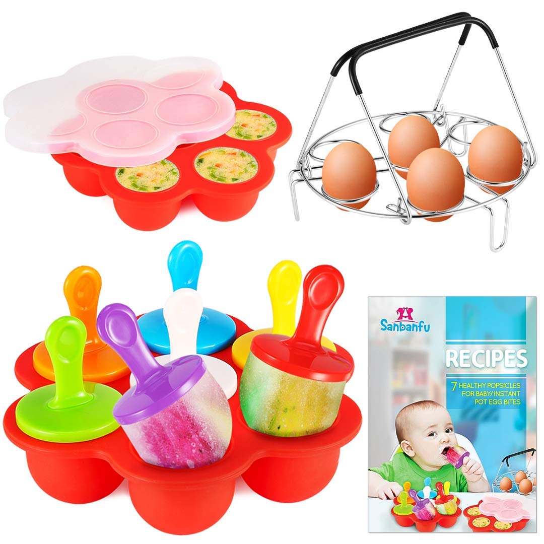 Sanbanfu Egg Bites and Popsicles Silicone Molds with 7-Hole Egg Steamer Rack Trivet, Silicone Pop Mold,Recipes & Instructions, baby food freeze trays