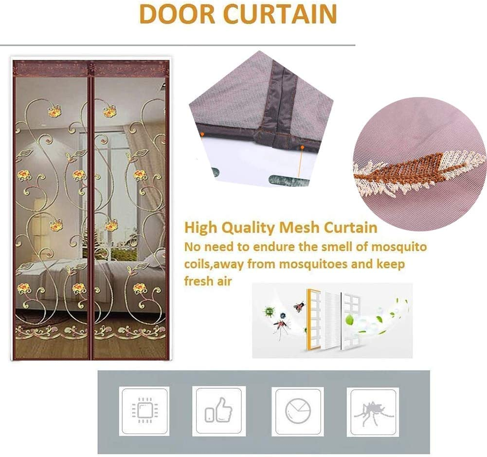 Polyester Magnetic Door Fly Screen Curtain Super Quiet for Anti Mosquito or Anti Pest Magnetic Soft Door Let fresh air in,Beige,100x210cm GZL-backpack Magnetic Screen Door