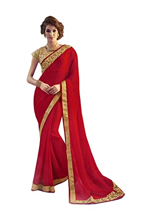 b7b8bc1389689b Amazon.com: PinkCityCreations PCC Indian Women Designer Party Wear Red  Color Saree Sari K-4789-42353: Clothing