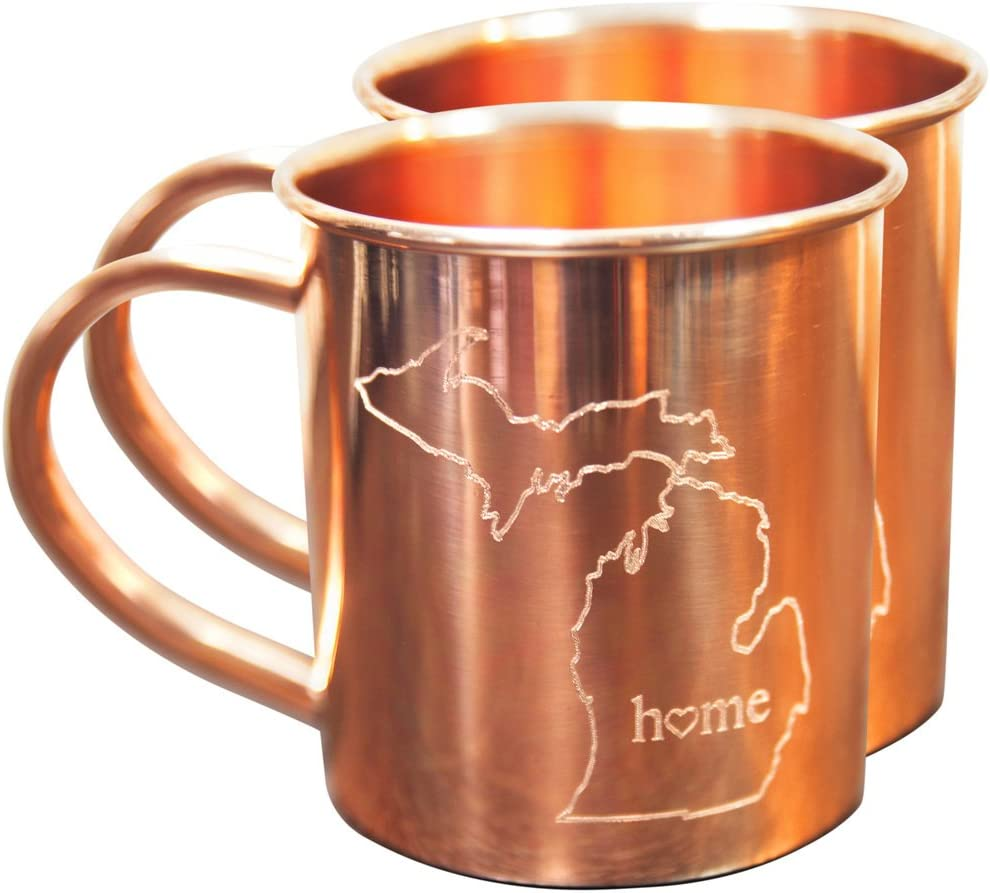 Home State Copper Mugs for Moscow Mules - Michigan Mug - 100% Pure Copper Mug - Best For Moscow Mule Lovers - Set of 2 Copper Cups – 14 oz Size By Alchemade
