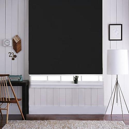 ONXO 100 Sun Shade Waterproof Custom Window Roller Shades for Home Office,Black,75W x 96L