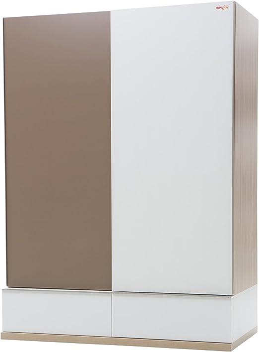 New Joy Blanco Marrón Niños Puerta Corredera Armario, 195 x 140 x 75 cm: Amazon.es: Hogar