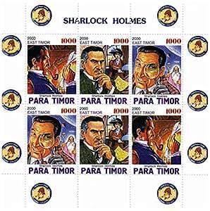 Sellos de Sherlock Holmes de la filatelia - atracción de Sherlock Holmes con una ortografía diferente - Sharlock Holmes - 4 sellos de menta sobre una hojita sello desquiciado - sin montar