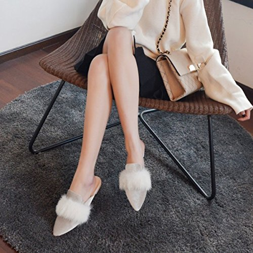 Beige Pelz Shoes Embroidery Loafers Mule Flat Slip Velvet Women's Chic Backless Jushee Slipperss On qB7Ow1C