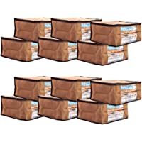 Solimo 12 Piece Non Woven Fabric Saree Cover Set with Transparent Window, Large, Brown-P