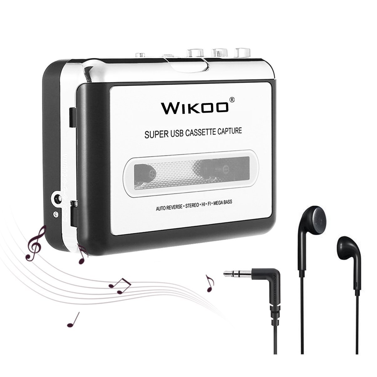 Wikoo Cassette to MP3 Converter Tape Player, Convert Cassette to MP3, Comes with Software and Earphone
