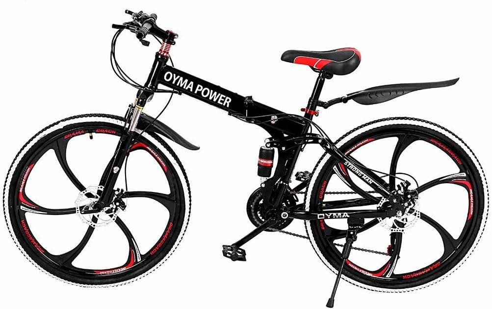 666 【US Spot】 Mountain Bike,Outroad Mountain Bike 21 Speed Bicycle 26 in Folding Bike Double Disc Brake Bicycles Folding Bike for Adult Teens,Road Bikes,MTB Bikes,Hiking Bicycle,Photography