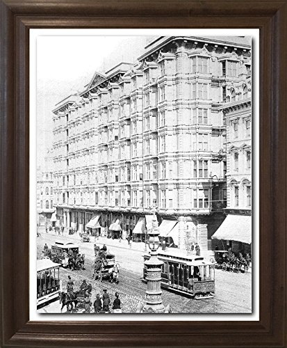 Impact Posters Gallery Framed Wall Decor Vintage San Francisco Palace Hotel 1889 Old City Black And White Brown Rust Art Print Picture (19x23) ()
