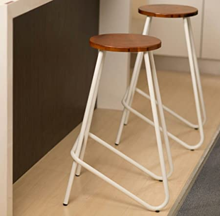 Rajtai Shree 2 ELM Metal Wooden Stool for Bar and Kitchen (White)