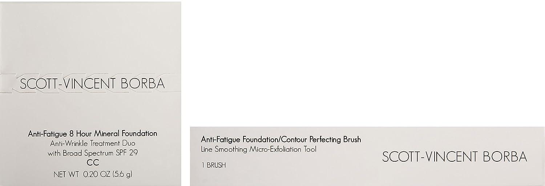 Scott-Vincent Borba Anti-Fatigue Skin Care SPF 29 Foundation Anti-Wrinkle Kit with Foundation Micro-Exfoliation Tool, 02 Medium, 0.2 oz.