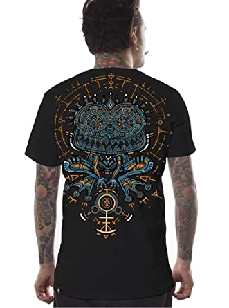 91ec881bb2d6 Men's Psychedelic T-Shirt Psycho Toad Graphic PSY Trance Hypnotic Black Top  S