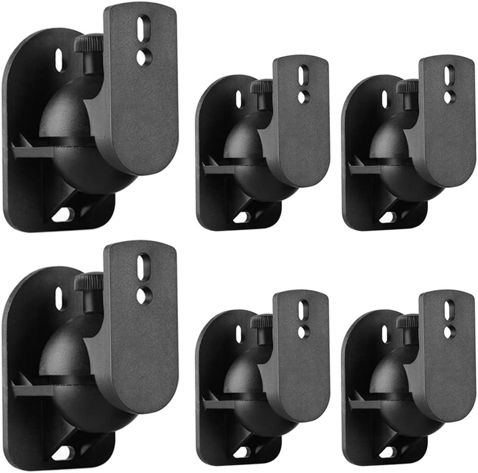 TNP Universal Satellite Speaker Wall Mount Bracket Ceiling Mount Clamp with Adjustable Swivel and Tilt Angle Rotation for Surround Sound System Satellite Speakers - 6 Pack, Black