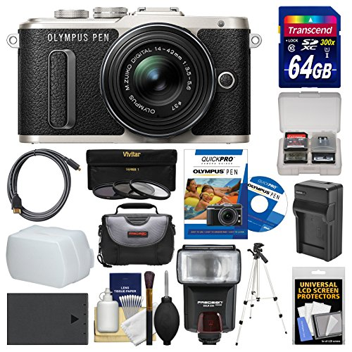 Olympus PEN E-PL8 Wi-Fi Micro 4/3 Digital Camera & 14-42mm II R Lens (Black) with 64GB Card + Case + Flash + Battery & Charger + Tripod + Filters Kit (Micro Two Thirds Camera compare prices)