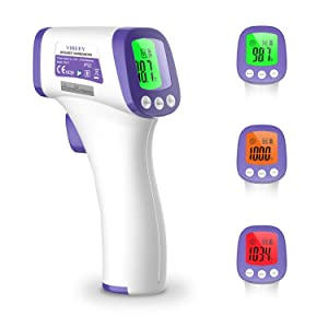 Vibeey Thermometer for Adults, Digital Non-Contact Forehead Infrared Thermometer with Fahrenheit Reading for Baby and Adults