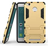 Cassiey Military Grade Version 3.0 With Kick Stand Back Cover Case For For Xiaomi Redmi 3S Prime,Gold