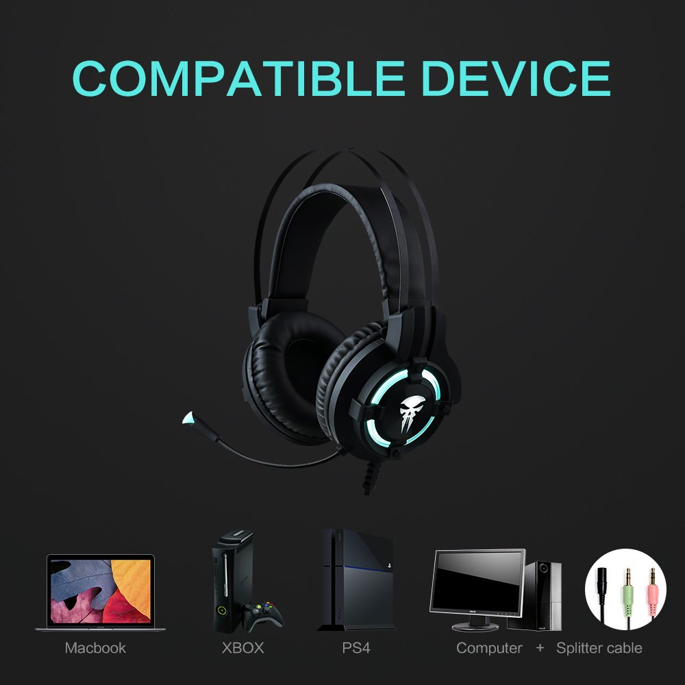 Wired Gaming Headphone with Microphone,Horsky Surround Stereo Over Ear Headset for Computer Gamer Volume Control Noise Cancelling Earphone 3.5mm Jack LED Light Black
