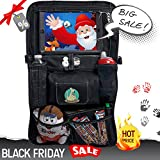 Backseat Car Organizer for Kids - Babies & Toddlers by BABYSEATER iPad Tablet Touch Screen Holder - Wet Wipes Tissue Pocket Stretchy Mesh Storage. Kick Mat Seat Back Protector Perfect Christmas Gift