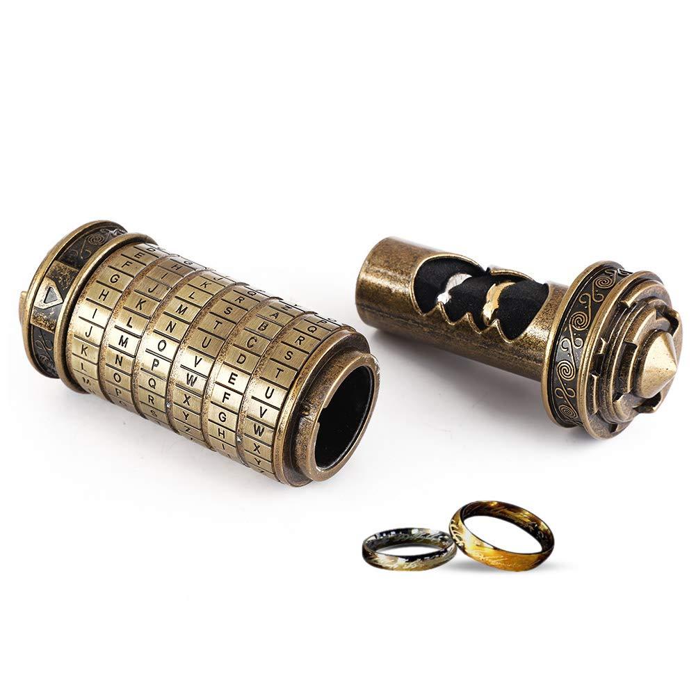 Hztyyier Da Vinci Code Cryptex Letter Contrase/ña Lock Ring Holder Regalo de cumplea/ños del d/ía de San Valent/ín con Anillos para Ella