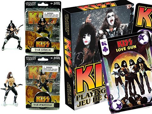 KISS Action Figures Rock Band & Ready to Roll Playing Cards Deck - The Demon & The Starchild 4.5'' collectibles by KSS-Army