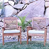 Walker Edison Solid Acacia Wood Patio Chairs, Set of 2