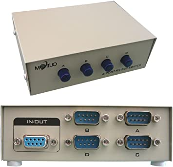 KALEA-INFORMATIQUE 4 port RS232 Serial RS-232 DB9 Switch 4 Inputs to 1 Output or 1 Input to 4 Outputs