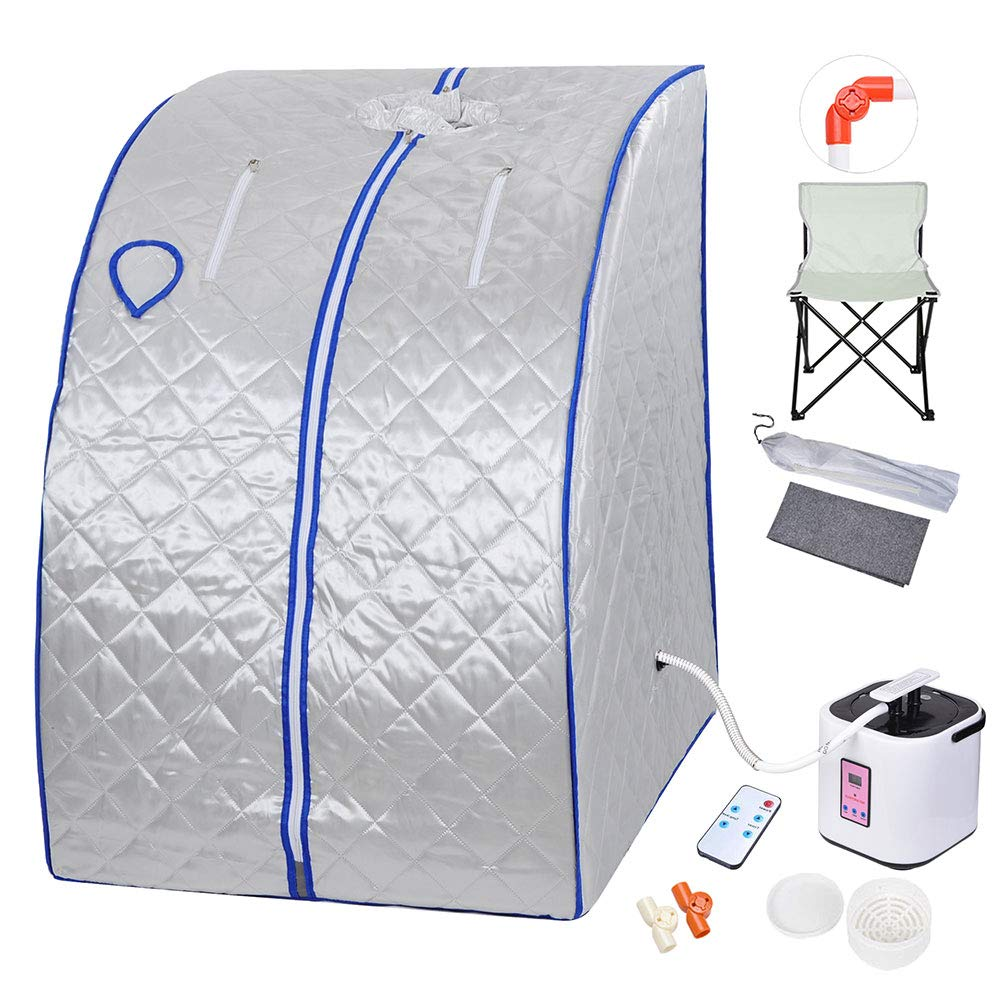 AW Portable Large Chair Silver Personal Therapeutic Steam Sauna SPA Detox Weight Loss Indoor by AW