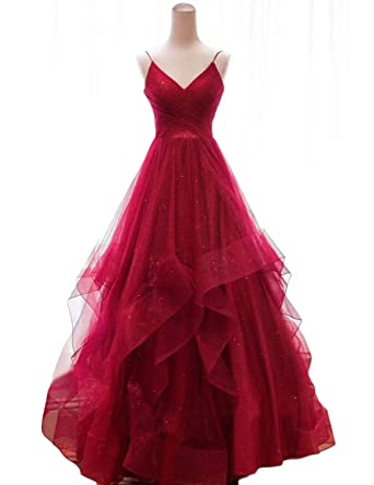 2605c60209cd4 OYILAN Women s Long V-Neck Tiered Tulle Prom Party Dress with Glitter  Burgundy 2