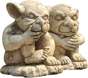OwMell Set of 2 Gargoyle Statue Garden Guardian Sculpture Figurine, Small 5 Inch, Aged Stone