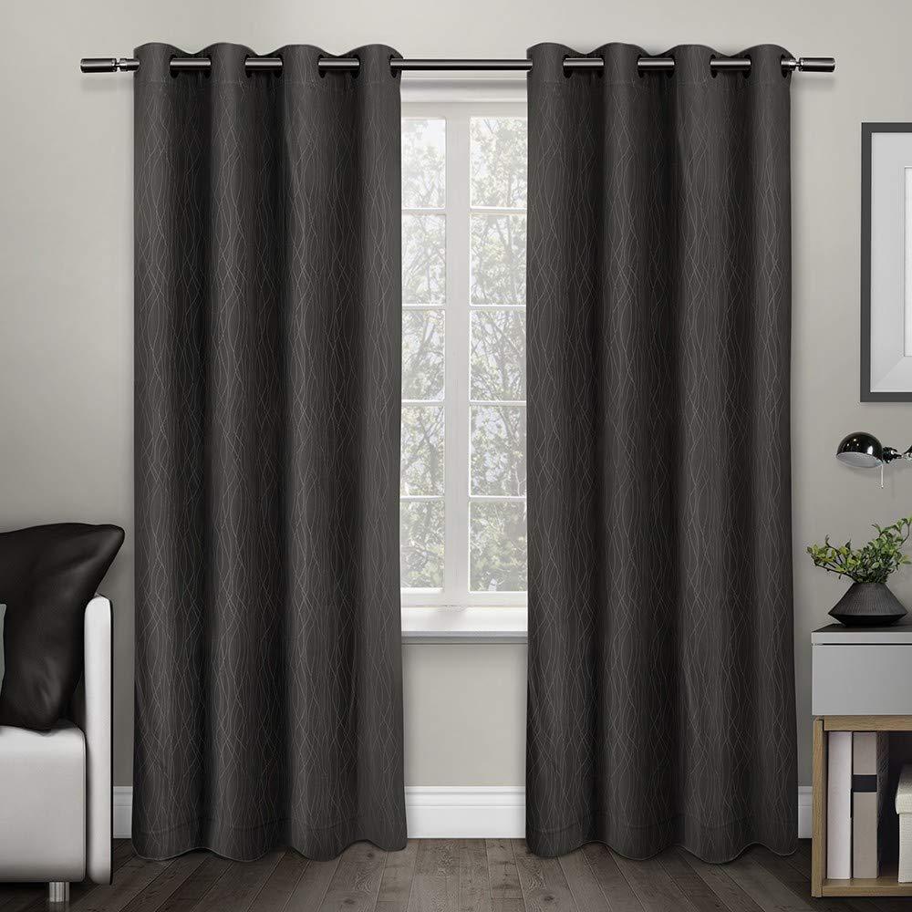 Esclusivo Home Creta in tessuto jacquard top termico Grommet pannelli grigio Exclusive Home G7903-03 2-X84G