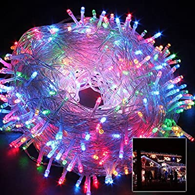 Safe 24V 8 Modes 500 LEDs 100m/328ft Christmas Lights Fairy Lights DC Transformer with Transparent String for Bedroom Patio Party …