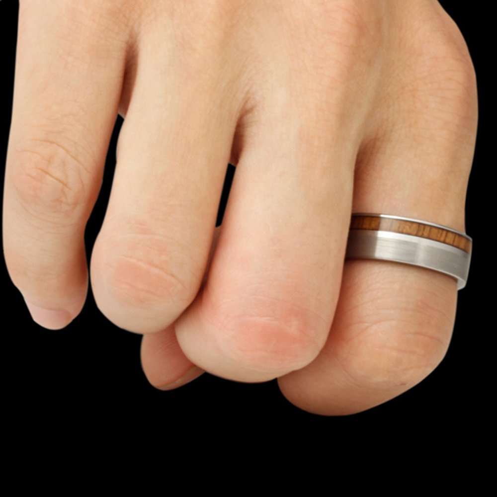 Men Women Tungsten Silver Couple Ring Vintage Wedding Engagement White Band with 100% Koa Wood Flat Top by Fashion Month (Image #6)