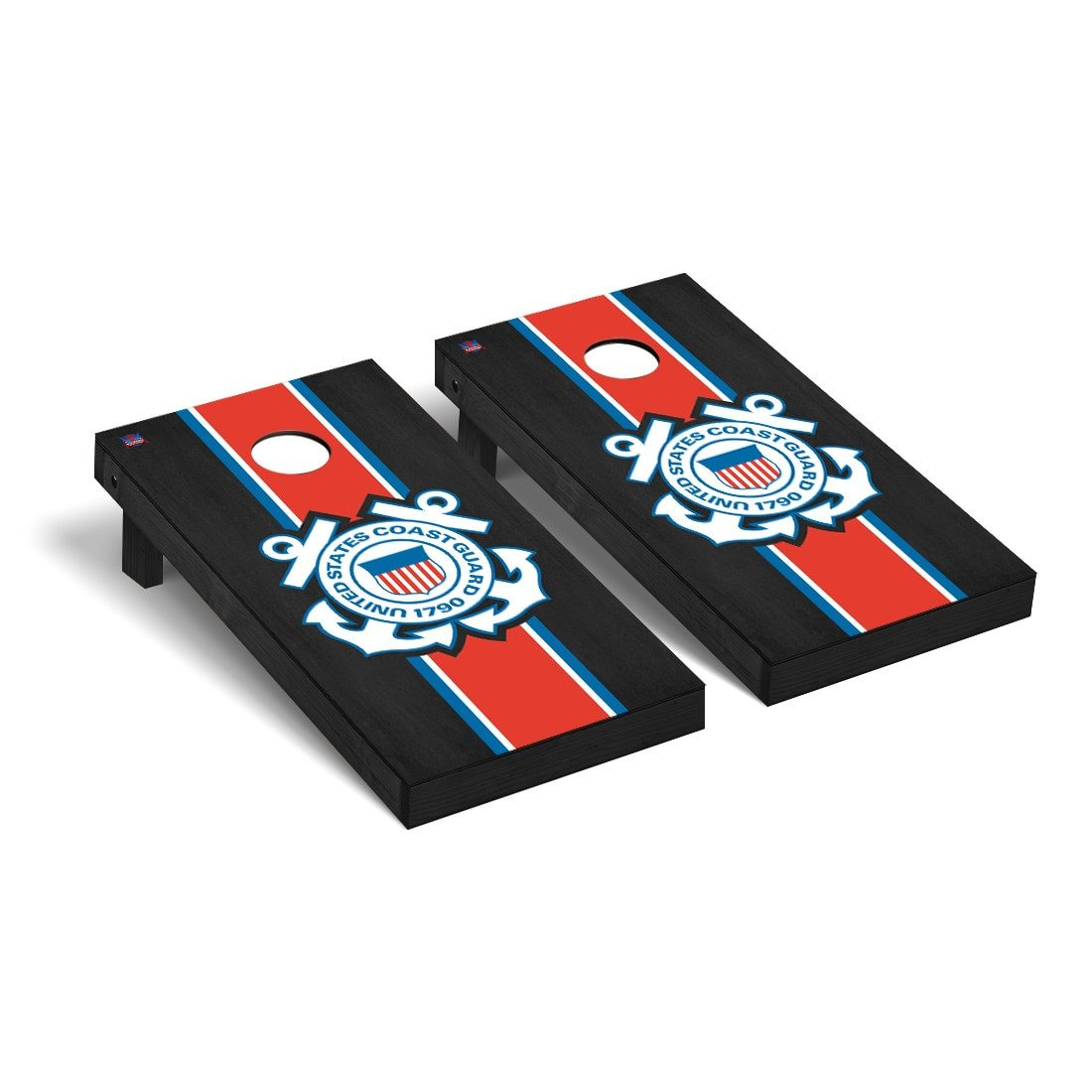 Victory Tailgate US Coast Guard Regulation Cornhole Game Set Onyx Stained Stripe Version