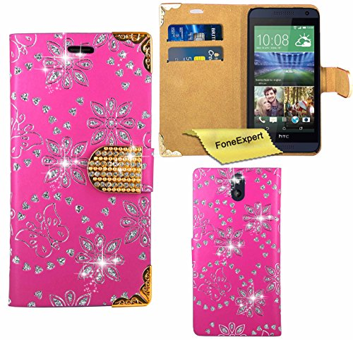 HTC Desire 610 Case, FoneExpert® Bling Luxury Diamond Leather Wallet Book Bag Case Cover For HTC Desire 610 + Screen Protector & Cloth (Pink)
