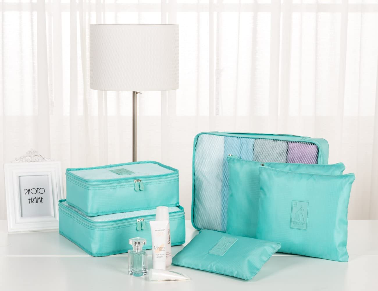Blue Sunee 6-pc Set Waterproof Packing Cubes,3 Travel Cubes 3 Pouches