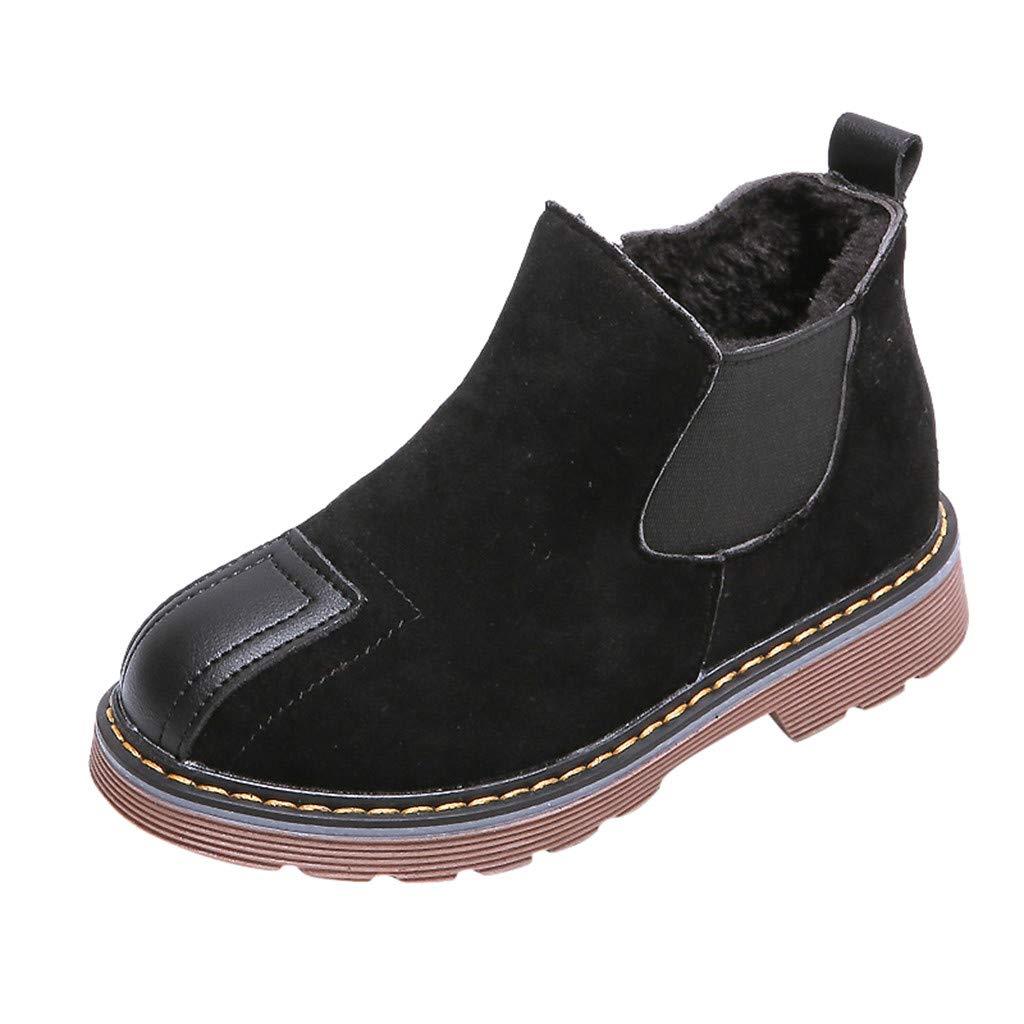 SSUPLYMY Kinder Unisex Kurzschaft Stiefel Mode Leather Schneestiefel Plus Samt Warm Freizeitstiefel Dicker Boden Knöchel Nackt Stiefel