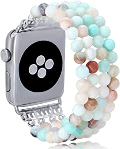 KAI Top Compatible for Apple Watch Band 38mm 40mm 42mm 44mm,Natural Stone Beaded Band for Women Girls,Elastic Stretch Replacement Band for iWatch Series 5 4 3 2 1(Amazonite)