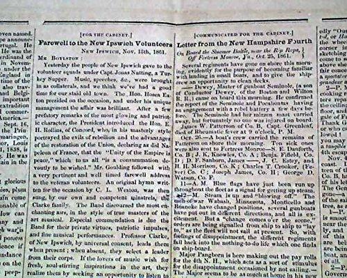 Rare AMHERST NH Hillsborough New Hampshire Civil War Era 1861 Original Newspaper FARMERS' CABINET, Amherst, New Hampshire, Nov. 28, 1861