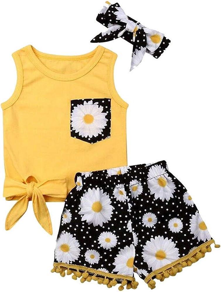 FELZ Ropa Bebe Niña Verano 2019 Ropa Bebe Recien Nacido Verano 3 Meses a 4 Años - 3PC/Conjunto - Amarillo Camiseta Mangas Cortos+ Pantalones/Falda + ...