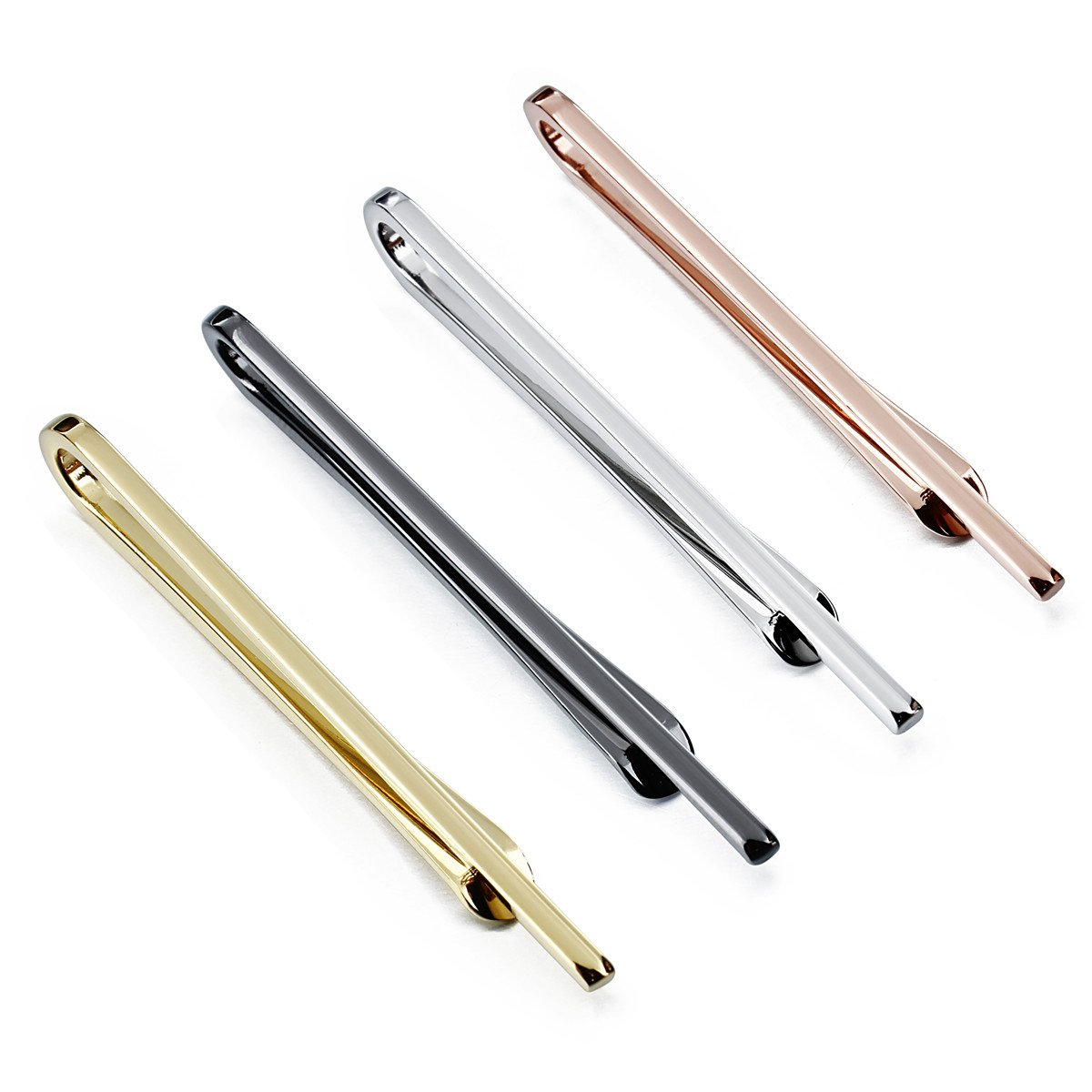 HAWSON 4Pcs Skinny Tie Clips for Men Wedding Business Anniversary Gifts