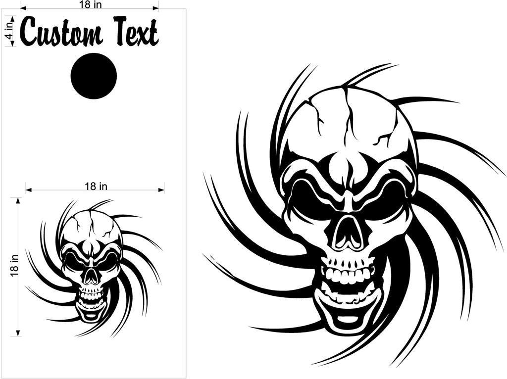 Tribal skullcornholeボードデカールステッカーBean Bag Toss 555
