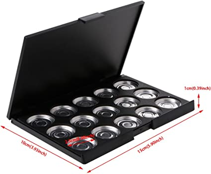 VAILANG 15PiezasS 26mm Cosméticos vacíos Maquillaje Sombra de Ojos Paleta de Aluminio DIY Sartenes Herramienta Herramienta Estuche de Sombra de Ojos vacío Negro: Amazon.es: Hogar