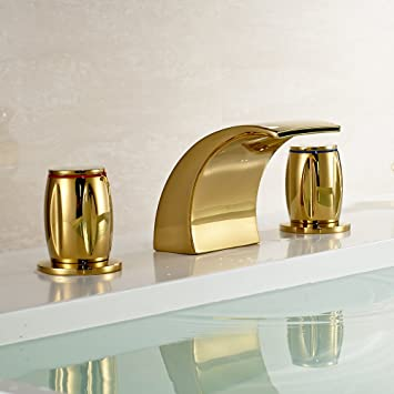 Gold Brass Waterfall Bathroom Sink Faucet Double Knobs Widespread Mixer Tap