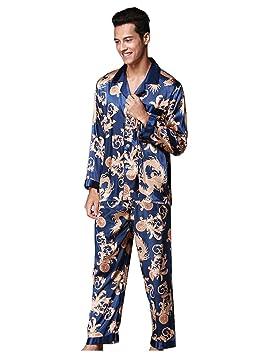 Pakamo de los Hombres Conjuntos de Pijama Primavera y otoño Suit Collar Long Sleeves + Trousers