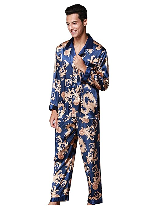 Pakamo de los Hombres Conjuntos de Pijama Primavera y otoño Suit Collar Long Sleeves + Trousers Ropa de Dormir Hombres Moda Ropa de casa Seda Lujoso Ropa de ...