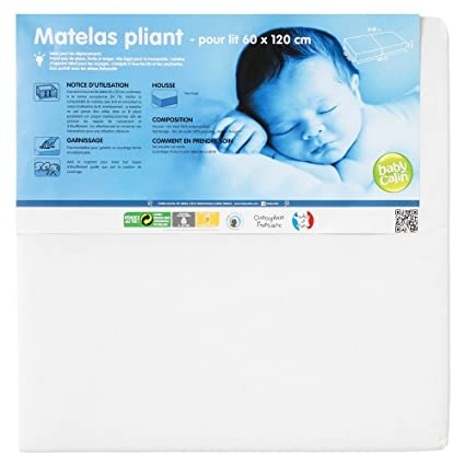 Babycalin Colchón plegable 2 partes para cama 16 kg/m3 60 x 120 x 5