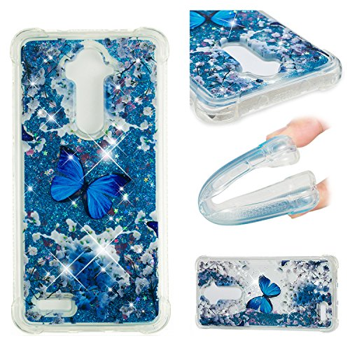 ZTE Carry Z981 Case,ZTE Zmax Pro Wallet Case, Tznzxm Cartoon Glitter Liquid Floating Bling Sparkle Quicksand for Girls Children Shockproof TPU Protection Bumper Back Skin for ZTE Zmax Pro Butterfly